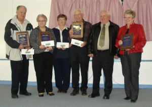 L to R: Upper Miramichi Rural Community Mayor, Scott Clowater; Doaktown Primary School principal, Cynthia Mitchell; Upper Miramichi High School secretary, Irma O'Donnell; McNamee Recreation Council president, Ashely Price, McNamee Come Home committee chair, Lorne Amos; Upper Miramichi Elementary School principal, Brenda O'Donnell.