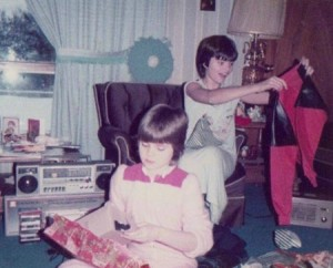 Kellie's sisters opening gifts, Christmas 1984.