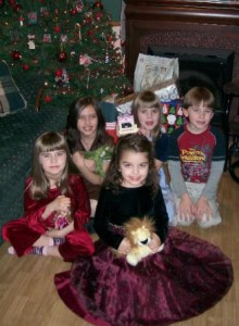 Kellie's nieces and nephew on Christmas Eve, 2007.