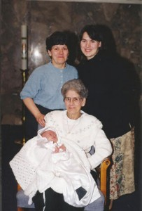 Four generations with Emilienne, Mémère Pitre seated.