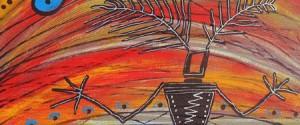 Alan Syliboy, Little Thunder (detail), 2009, acrylic on canvas