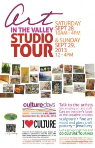 The Art in the Valley Studio Tour happens September 28 and 29, 2013.