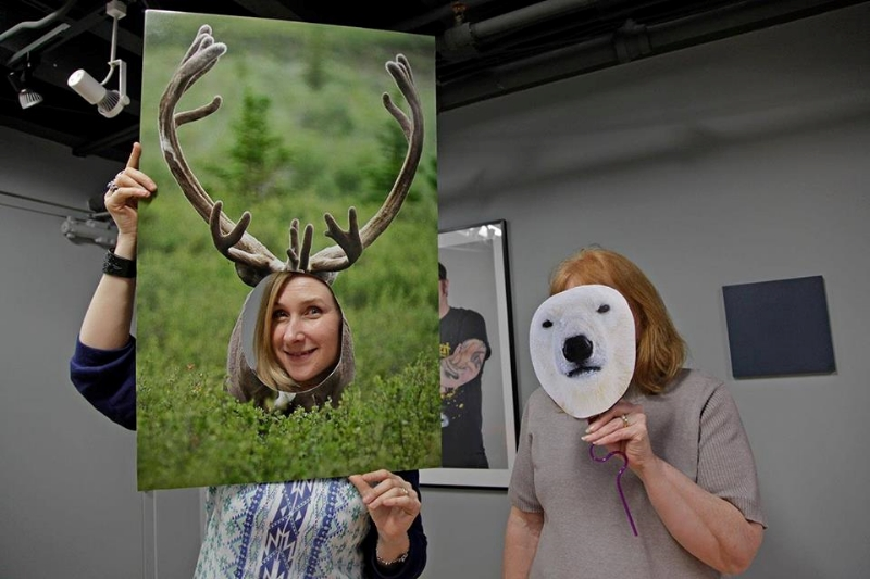 Come play with us! Bring your iphone and turn yourselves into animal muses! Here, artist Teena Dickerson, left, with our volunteer photographer, 1st Year Diploma Photography student, Lesley Dunn! Photograph by Karen Ruet
