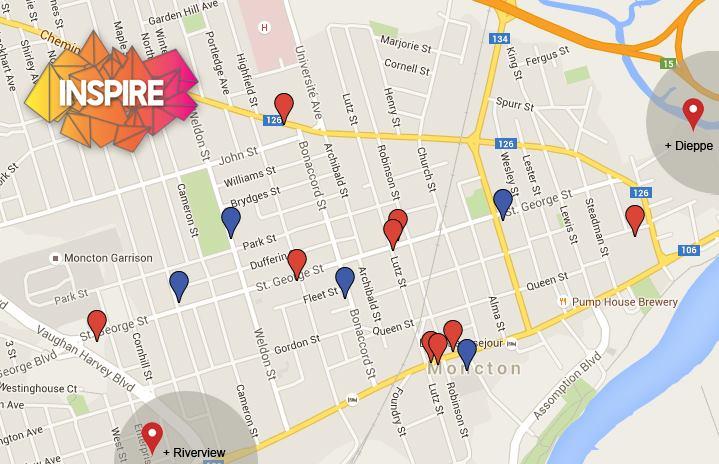 Festival Inspire Map Blue:existingmurals-- Red:newmurals2016